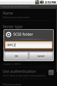 Setting the SCGI filder in Transdroid