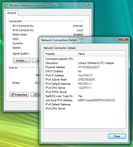 Vista&#039;s network adapter details window