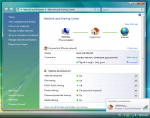 Vista's network adapter details window