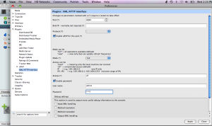 The XML over HTTP plug-in settings window