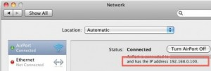 Local IP address on OS X